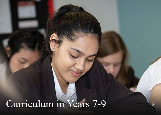 Curriculum in Years 7-9